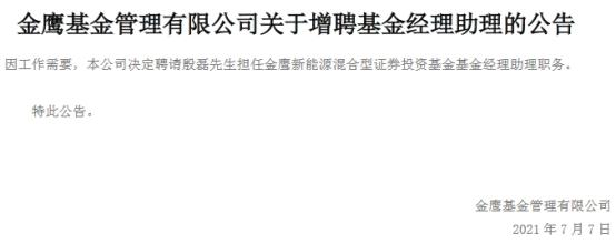 金鹰基金增聘殷磊为金鹰新能源混合基金经理助理