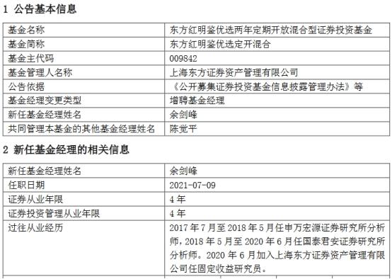 东方红明鉴优选定开混合增聘基金经理余剑峰