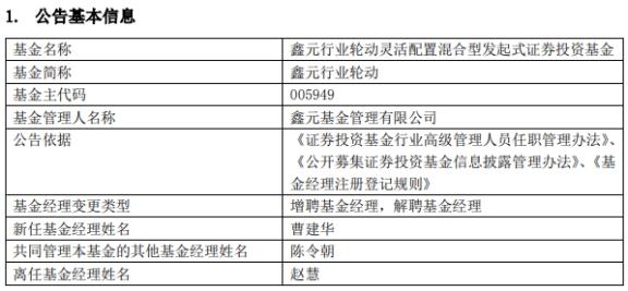 鑫元基金4只基金增聘基金经理曹建华 赵慧离任