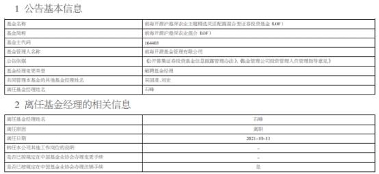 石峰离职并离任前海开源沪港深农业混合 今年来涨0.2%