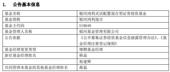 银河基金2只混基增聘基金经理 年内净值均小幅下跌