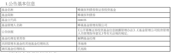 孔宪政离任蜂巢恒利债券 李海涛独立管理