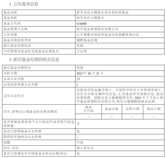 新华灵活主题混合增聘基金经理张媛 与王永明共同管理