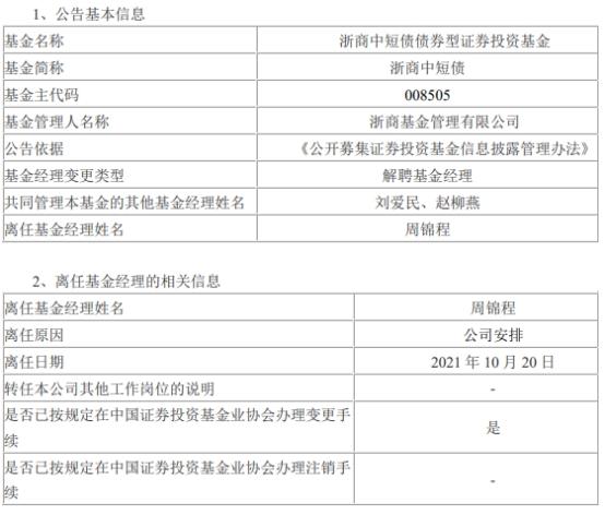 周锦程离任浙商中短债 刘爱民与赵柳燕共同管理
