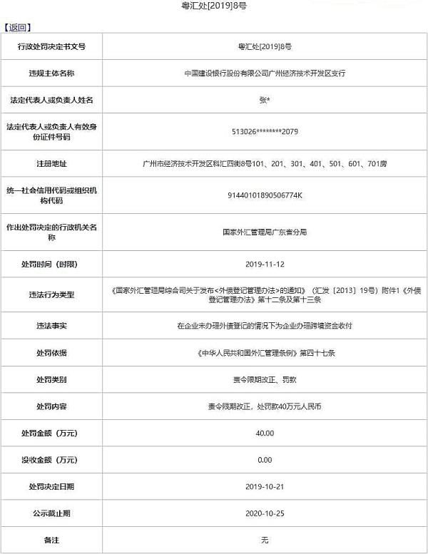 建设银行广州开发区支行违法遭罚 违规办跨境资金收付