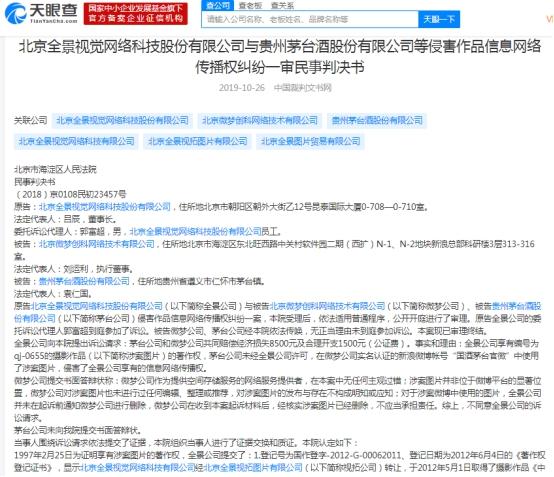 贵州茅台(600519.SH)图片侵权 全景网络索赔1万元法院判赔2000元
