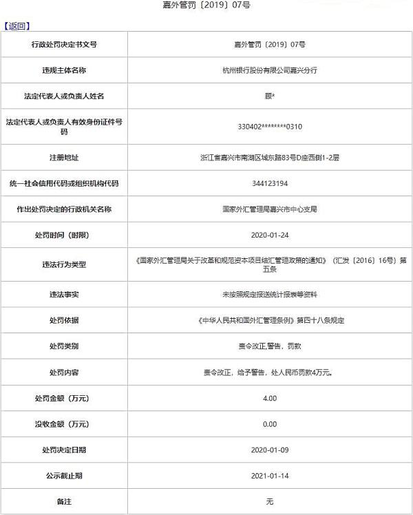 杭州银行嘉兴分行违法遭罚 未按照规定报送统计报表