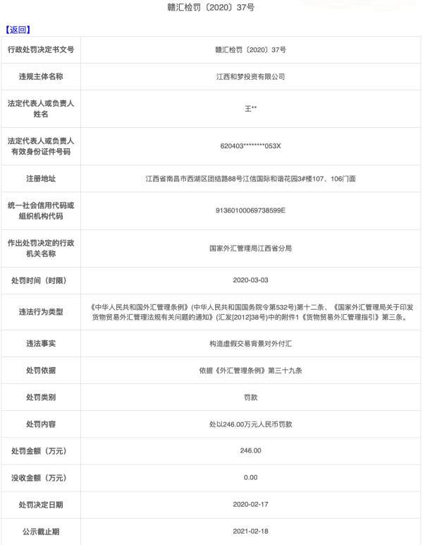 江西和梦投资违法遭罚246万 构造假交易背景对外付汇