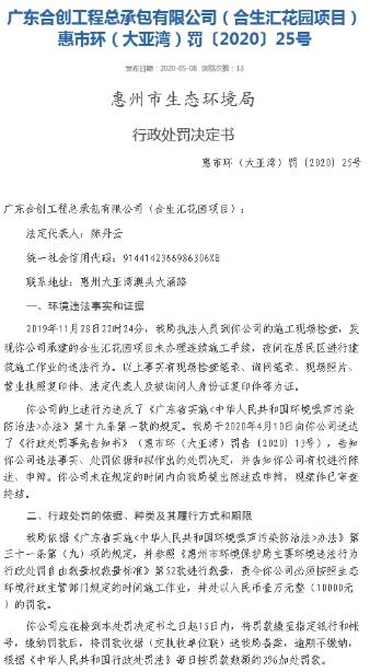 惠州合生匯花園夜間違法施工遭罰款1萬元 為合生創展旗下項目