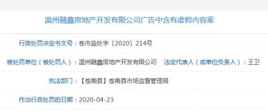 溫州金麟府違法虛假廣告遭罰20萬元 項目大股東為融信中國
