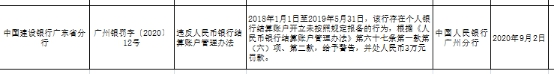 建设银行广东省分行违反人民币银行结算账户管理办法