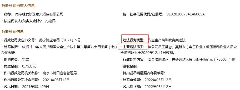 南京明发珍珠泉酒店因安全生产培训教育类违法被罚 特种人员安全资格证过期
