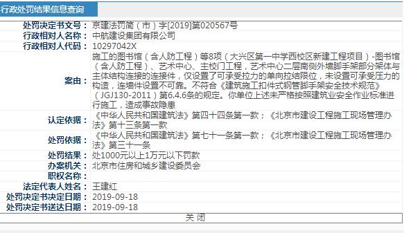 中航建设集团未按安全作业标准施工被北京住建处罚