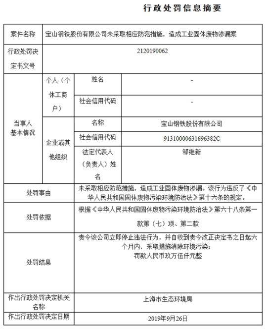 宝钢股份工业固体废物渗漏 遭上海监管罚9.5万