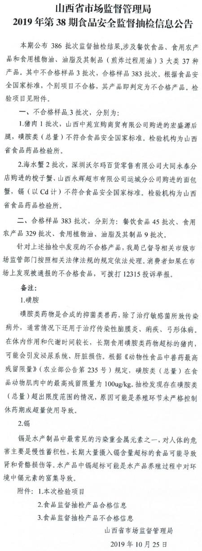 山西抽检3批次食品不合格 沃尔玛永辉超市现蟹镉超标