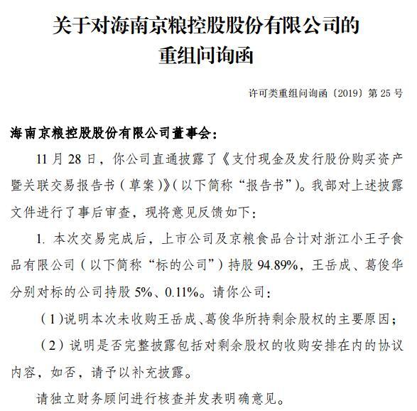 3.54亿高价收购浙江小王子股权多事项存疑 京粮控股收重组问询函
