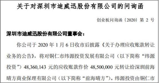 迪威迅4850万转让应收账款遭问询,是否为避免连续三年亏损暂停上市?