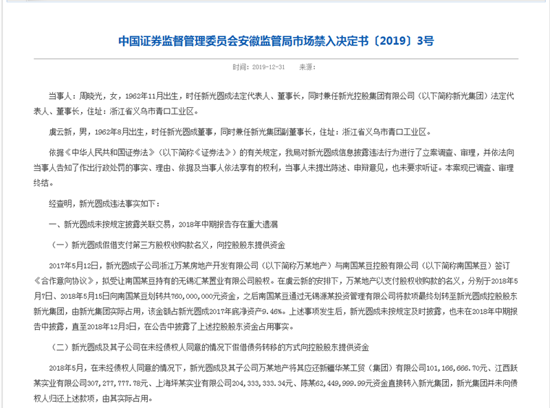 ST新光存违规行为被罚款60万 未按规定披露关联交易