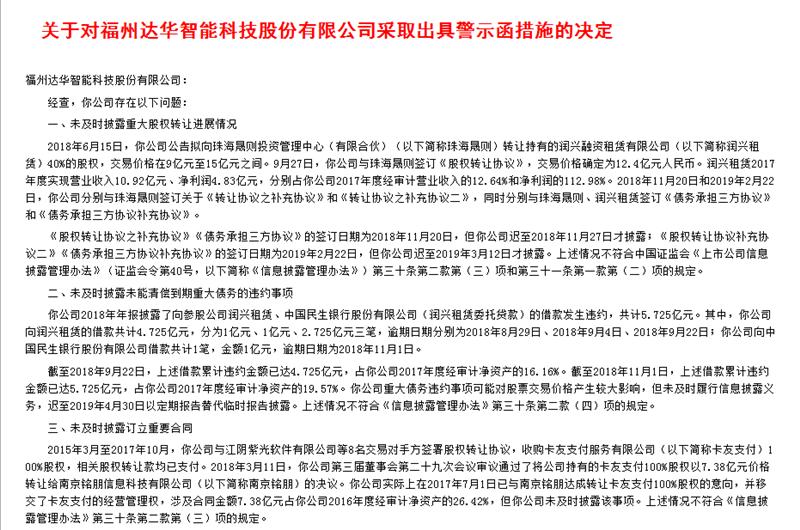 达华智能及前董事长被警示 5.725亿债务违约未及时披露
