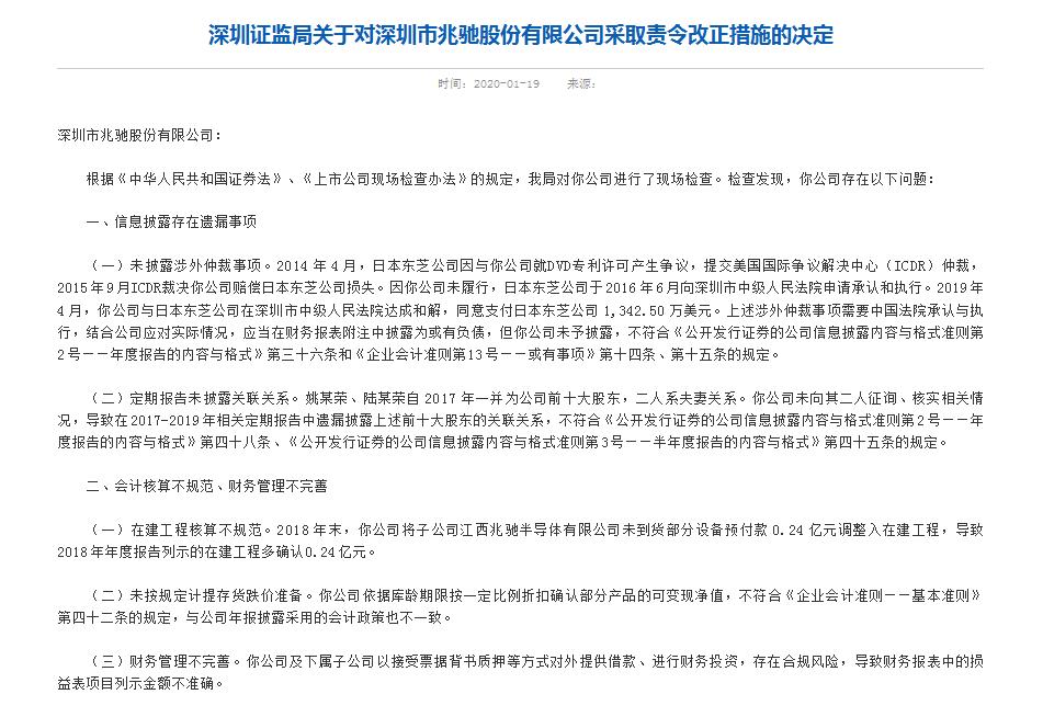 兆驰股份三宗违规被责令改正 董事长等4高管吃警示函