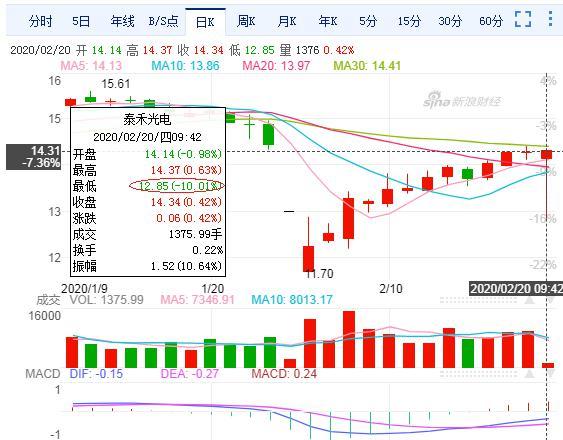 泰禾光电现怪异成交长富0.21%  股价秒触跌停