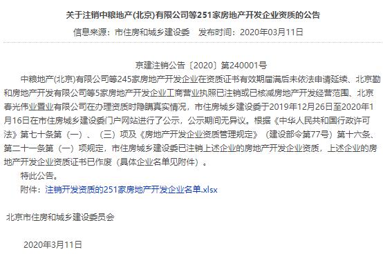中粮地产(北京)有限公司等251家房地产开发企业的资质被注销