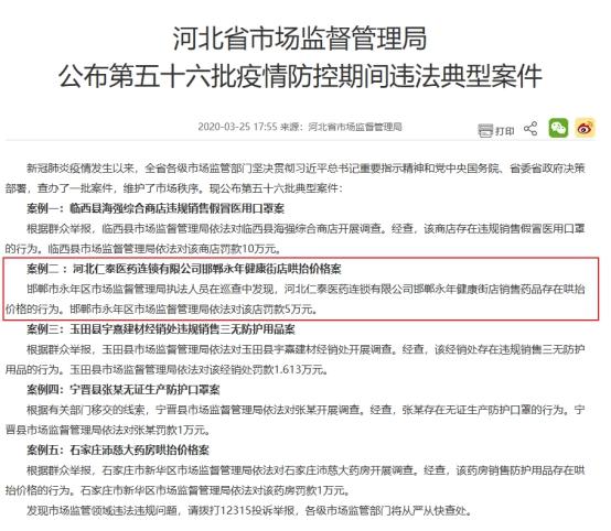 河北仁泰医药涉哄抬价格 高瓴资本旗下3企业疫期违法