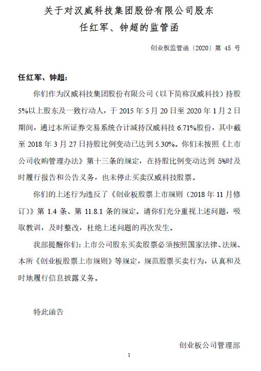 汉威科技实控人任红军、钟超违规减持公司股票未公告,收到监管函