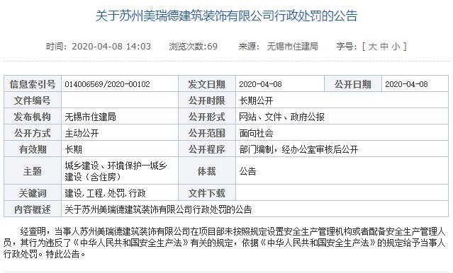 金螳螂子公司违反安全生产法遭无锡住建处罚