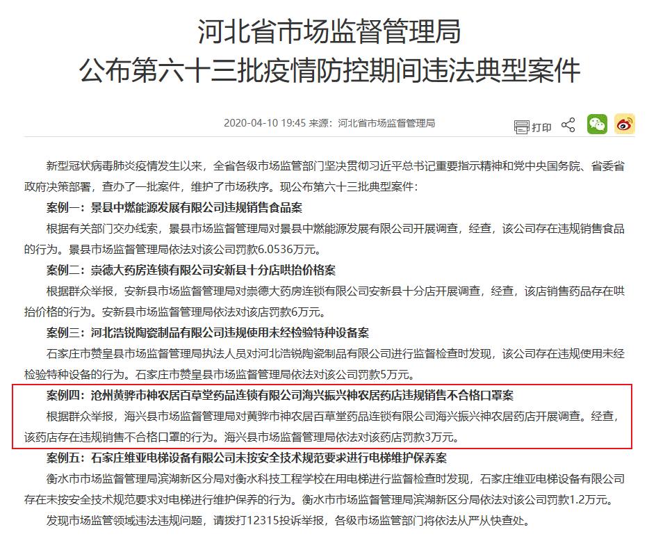 沧州神农居卖不合格口罩 高济医药旗下4企业疫期违法