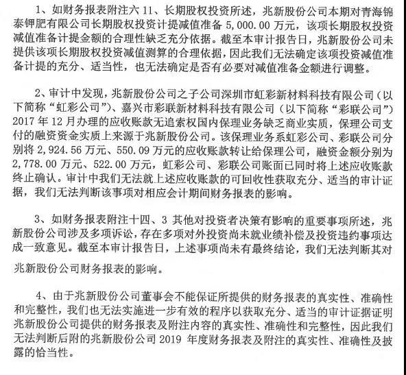 兆新股份年报或存严重虚假陈述 董监高不敢认年报