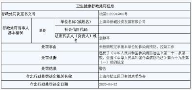上海华侨城遭警告 未按照规定承担本单位的传染病预防、控制工作