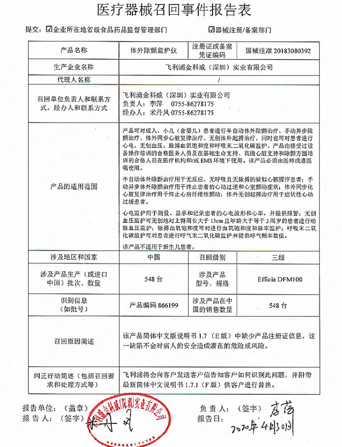 飞利浦金科威召回548台体外除颤监护仪 说明书缺少产品注册证信息