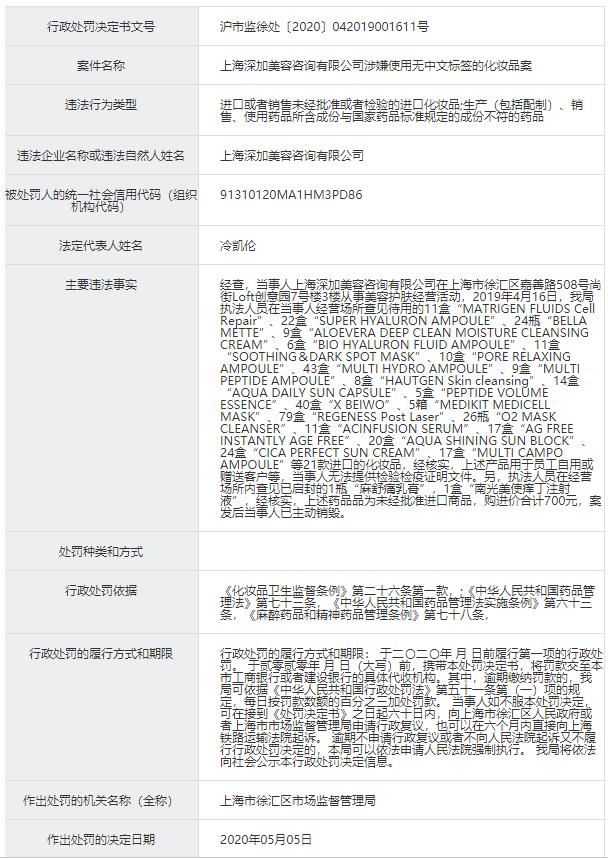 """上海深加美容公司""""销售假药"""" 被罚"""