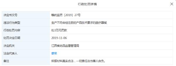 """南昌永德利医疗器械公司""""一次性使用口罩""""等产品不合格 被罚共计13万元"""