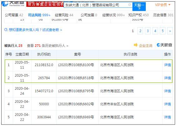 ofo关联公司新增被执行人信息2则,累计执行标的为21373936元