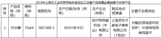 创尔特开水器上海抽查登榜不合格 为长青集团子公司