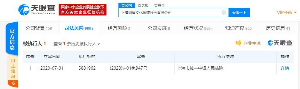 灿星文化成被执行人 执行标的超588万