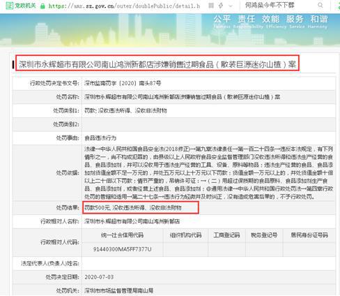 罚!永辉超市深圳一门店多次涉嫌售卖过期食品被罚 前不久有两门店刚被罚10万元
