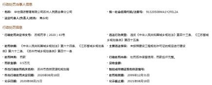 苏州市自然资源和规划局对华住酒店季分公司罚款5000元