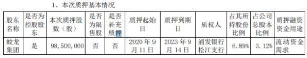 圆通速递控股股东蛟龙集团质押9850万股 用于流动资金需求