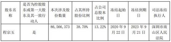 名家汇发布公告称:实控人程宗玉所持8657万股被司法冻结