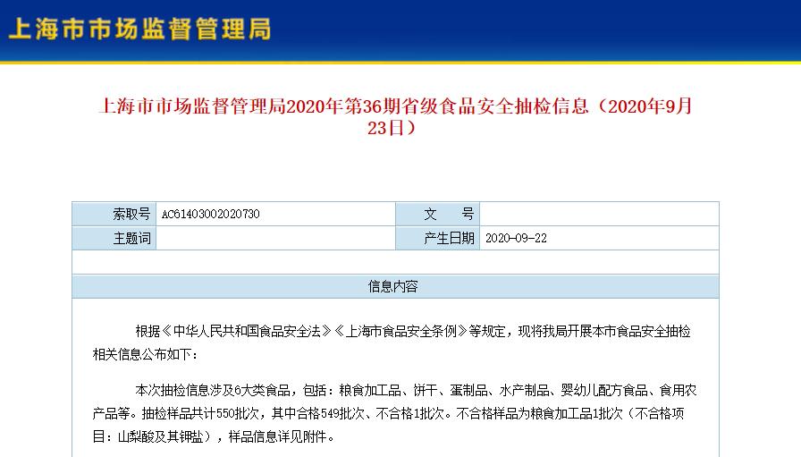 上海抽检550批次食品仅有1批次不合格 盒马鲜生独占黑榜