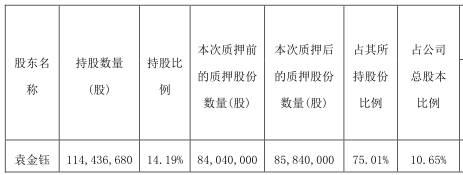 顺络电子(002138.SZ)董事长袁金钰质押180万股