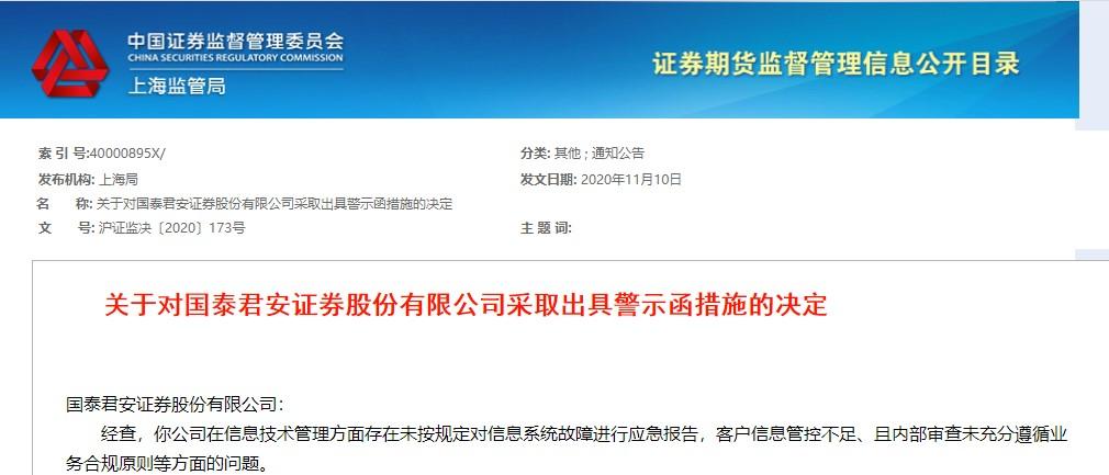 未按规定对信息系统故障进行应急报告,头部券商国泰君安收警示函!
