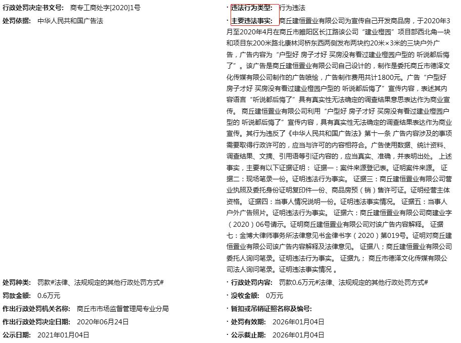 商丘建业橙园发布违法户外广告被罚款六千元 为建业地产项目