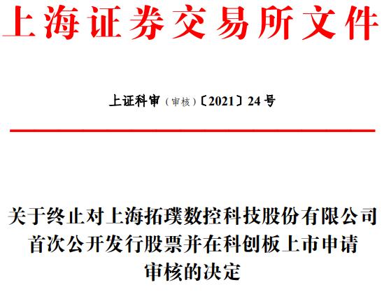 上海拓璞第二次终止科创板IPO 保荐机构是招商证券