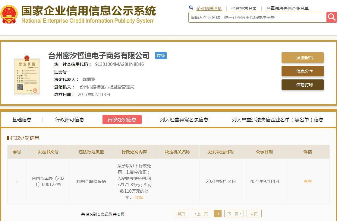 """微商""""MICISTY""""密汐皙迪品牌方公司因利用互联网传销被罚没507万元"""
