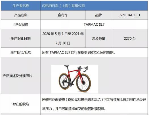 有摔倒受伤隐患!2000余辆闪电TARMAC SL7自行车被召回