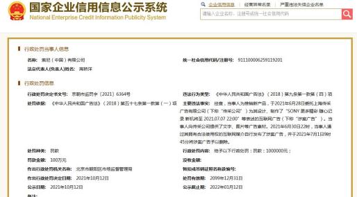 新品广告违反广告法 索尼中国被罚100万
